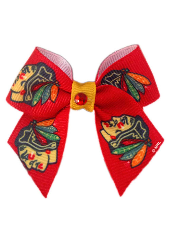 Chicago Blackhawks Red Pet Bow - Image 1