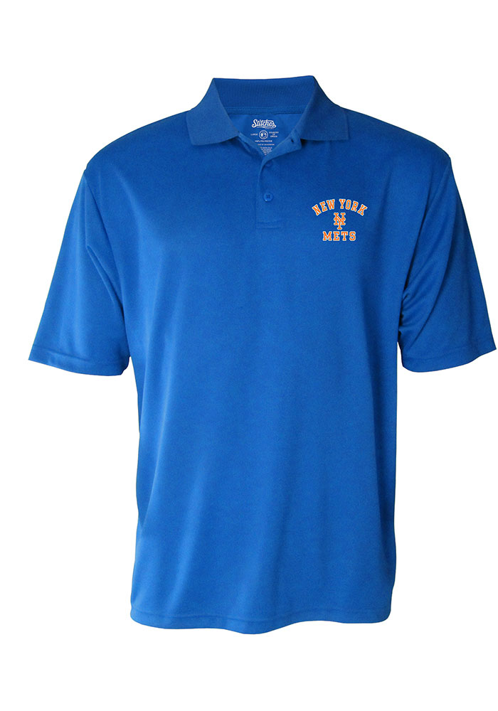 New York Mets Mens Blue Stitches Short Sleeve Polo - Image 1