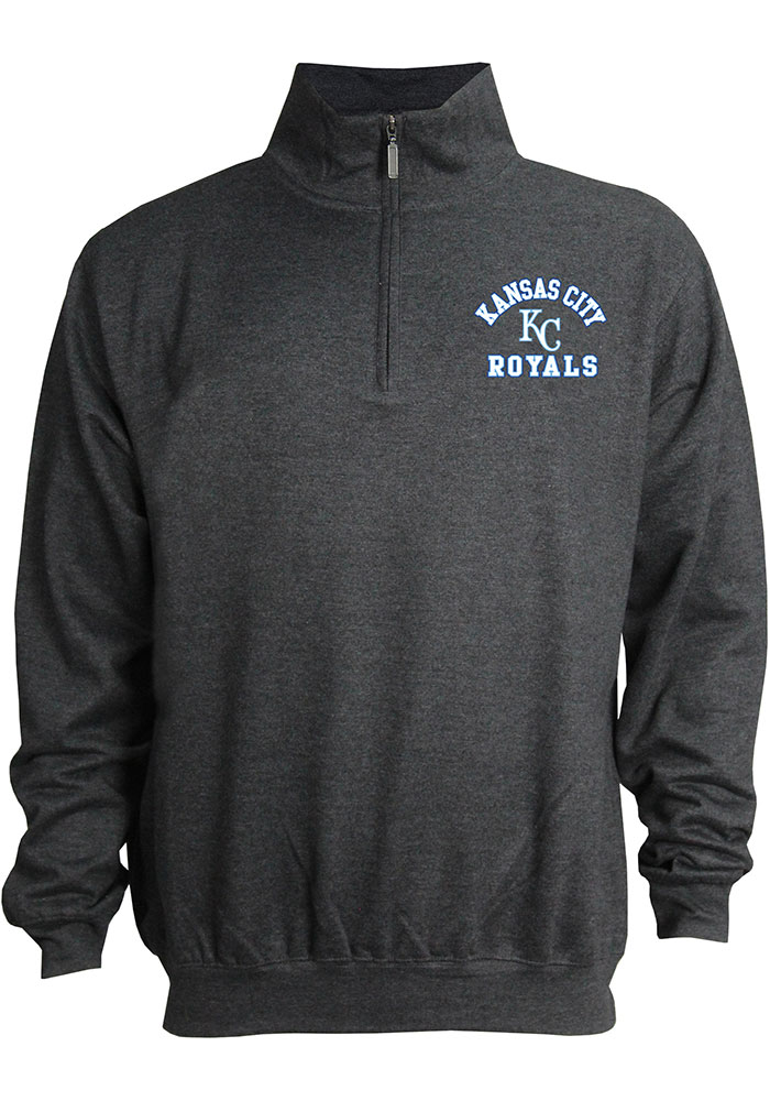 Kansas City Royals Mens Grey Stitches Mock Neck Pullover Long Sleeve 1/4 Zip Pullover - Image 1