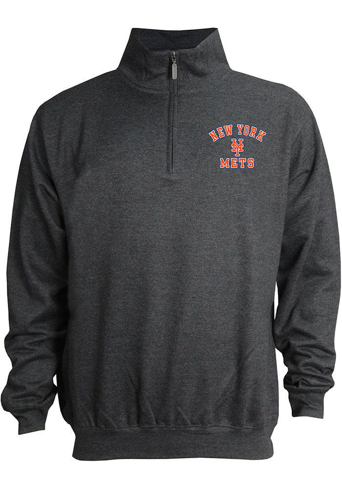 New York Mets Mens Grey Stitches Mock Neck Pullover Long Sleeve 1/4 Zip Pullover - Image 1