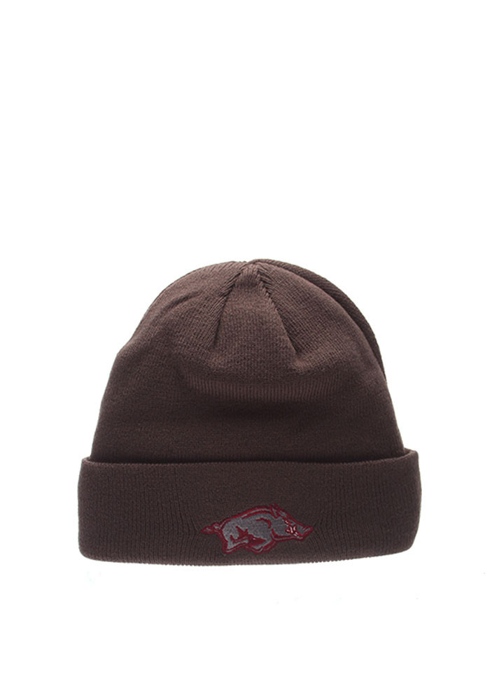 Zephyr Arkansas Razorbacks Grey Pop Mens Knit Hat - Image 1