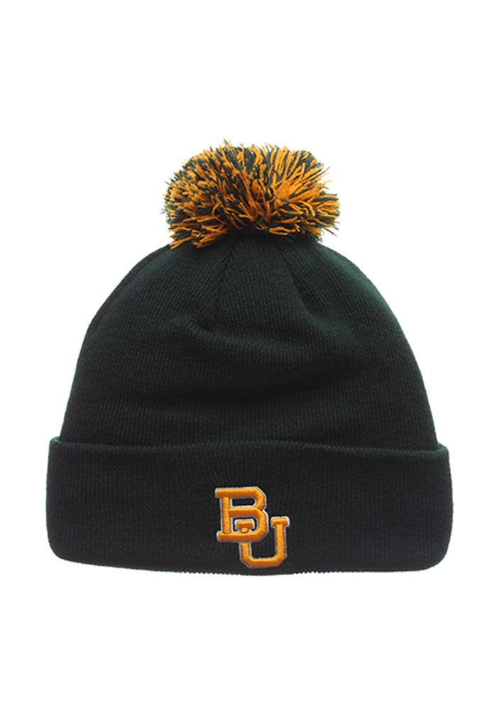 Zephyr Baylor Bears Green Pom Mens Knit Hat - Image 1