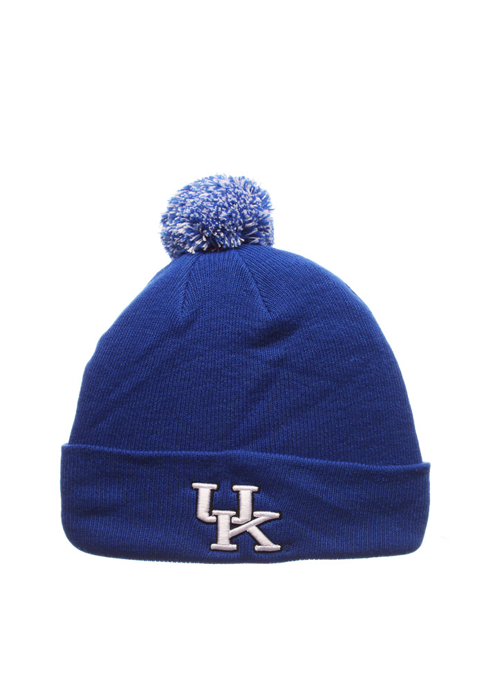 Zephyr Kentucky Wildcats Blue Pom Mens Knit Hat - Image 1