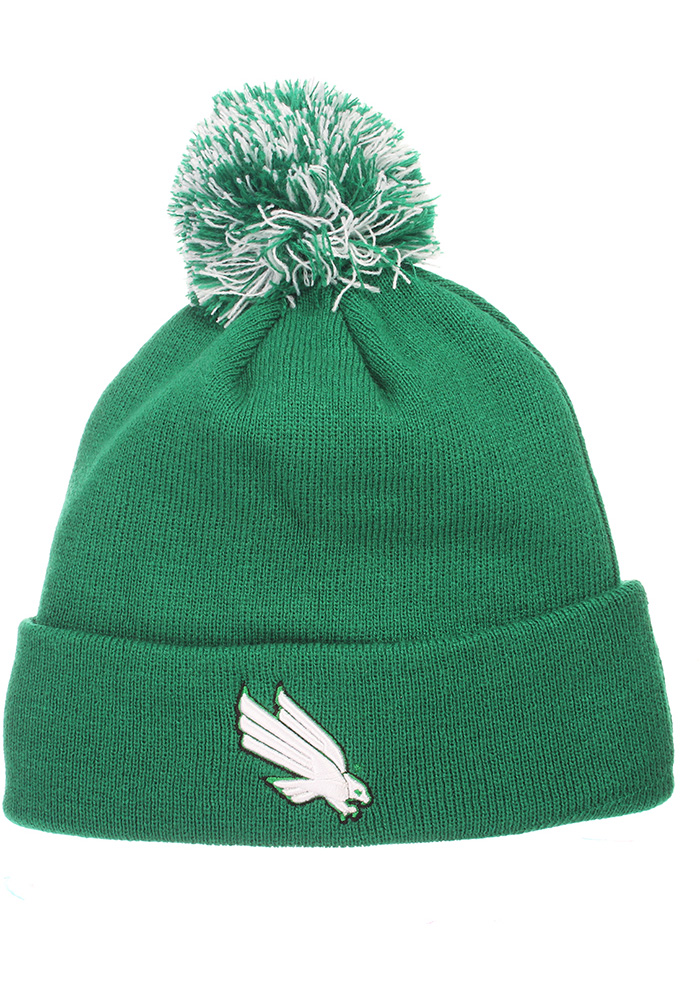 Zephyr North Texas Mean Green Green Pom Mens Knit Hat - Image 1