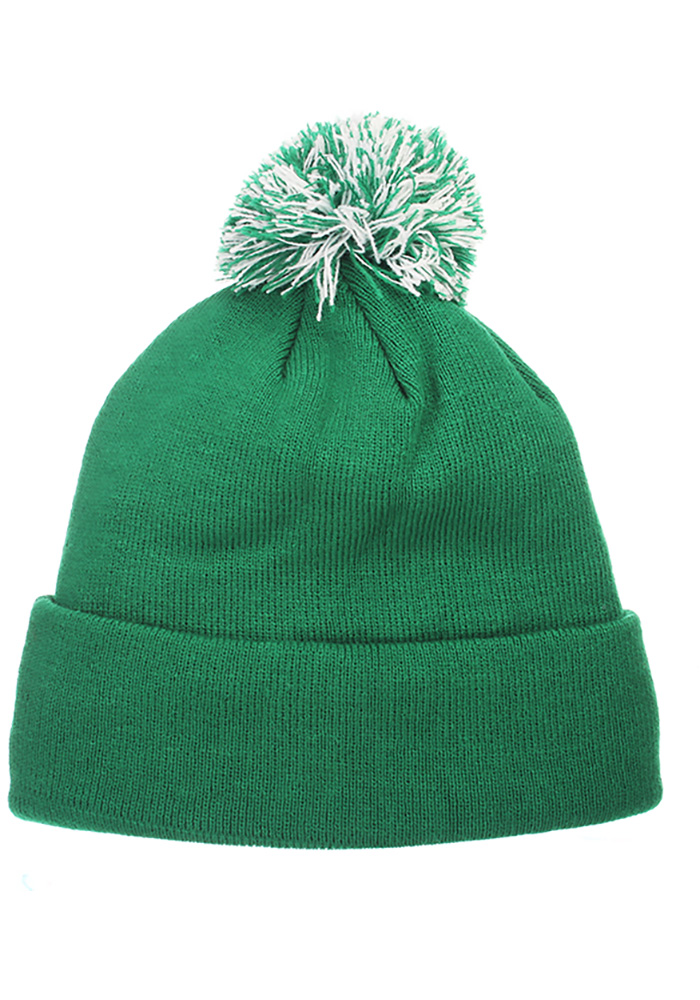 Zephyr North Texas Mean Green Green Pom Mens Knit Hat - Image 2