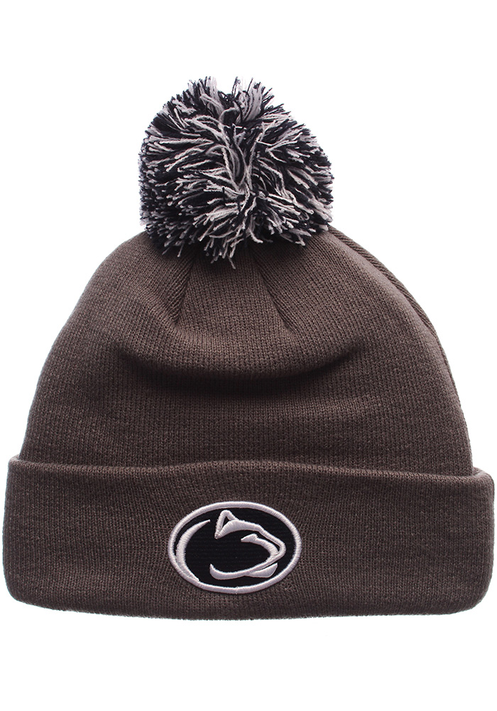 Zephyr Penn State Nittany Lions Charcoal Pom Mens Knit Hat - Image 1