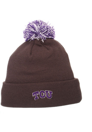 Zephyr TCU Horned Frogs Grey Pom Knit Hat