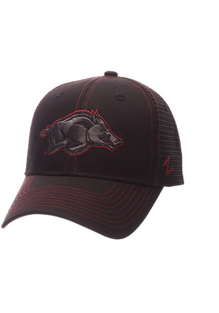 Zephyr Arkansas Razorbacks Mens Black Staple Blackout Adjustable Hat