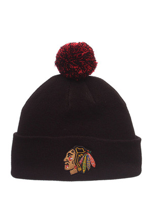 Zephyr Chicago Blackhawks Navy Blue Pom Cuff Knit Hat