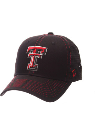 Zephyr Texas Tech Red Raiders Mens Black Staple Blackout Adjustable Hat