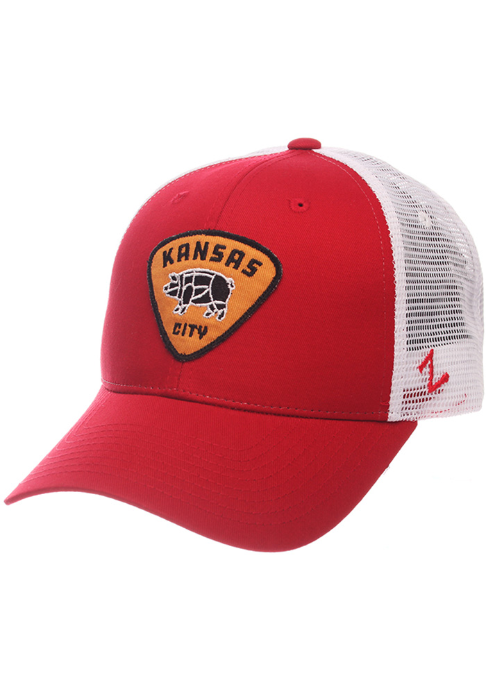 Mens Red Pig Trucker Adjustable Hat - Image 1