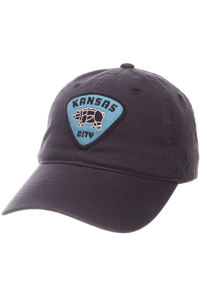 Mens Navy Blue Pig Slouch Adjustable Hat - Image 1