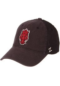 Arkansas Razorbacks Zephyr Raven Meshback Adjustable Hat - Charcoal