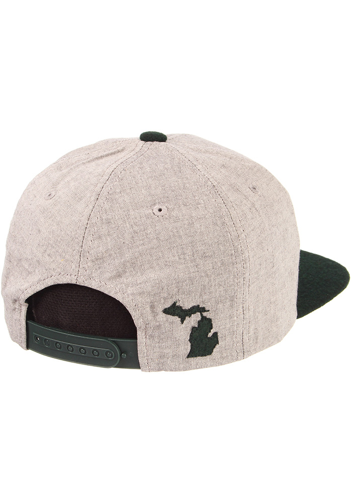 Zephyr Michigan State Spartans Grey Boulevard Mens Snapback Hat - Image 6