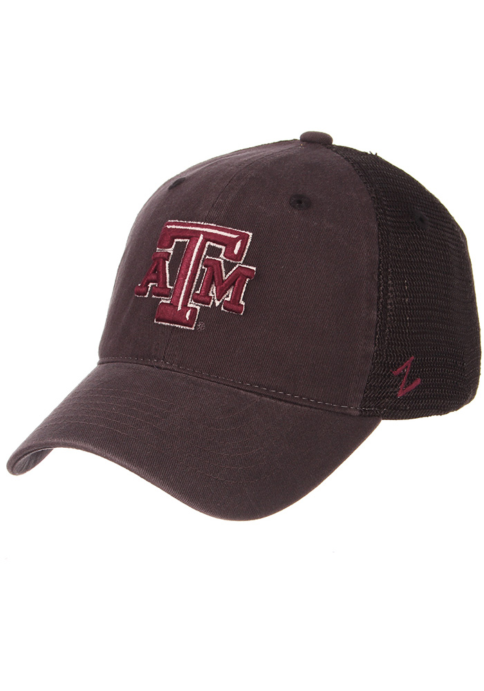 Texas A&M Aggies Zephyr Raven Meshback Adjustable Hat - Charcoal