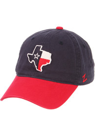 Texas Zephyr State Outline with Flag Scholarship Adjustable Hat - Navy Blue