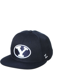 BYU Cougars M15 Flat Bill Fitted Hat - Navy Blue