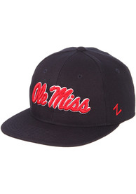 Ole Miss Rebels M15 Flat Bill Fitted Hat - Navy Blue