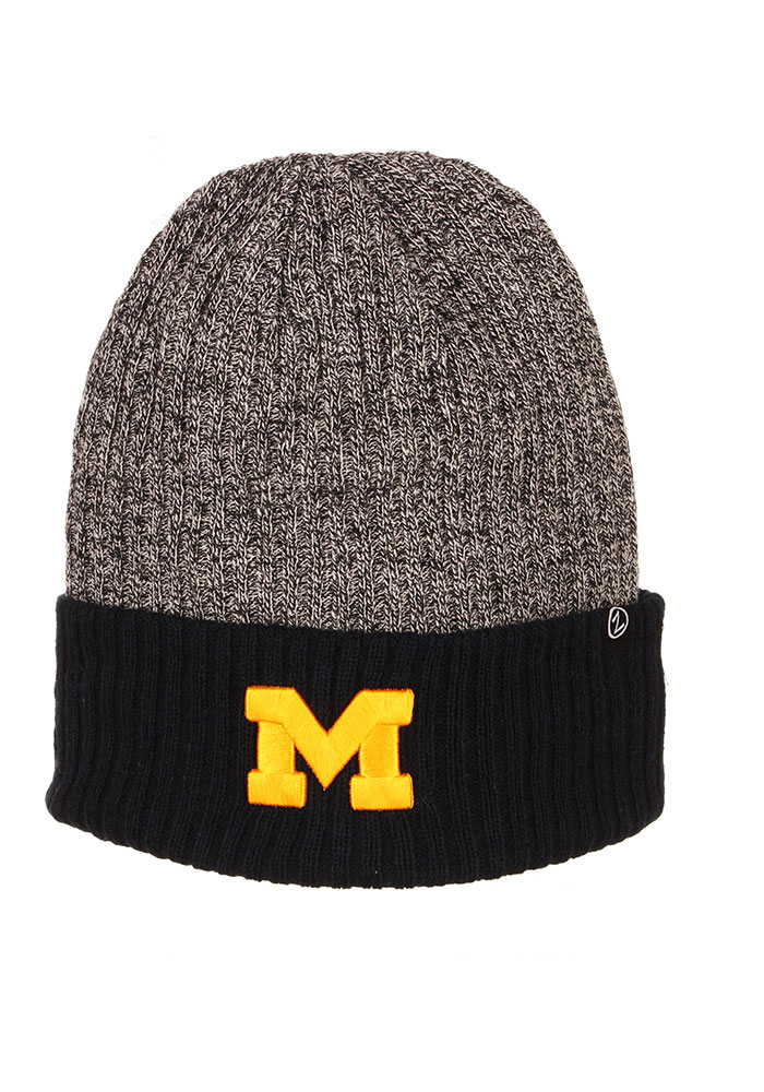 Zephyr Michigan Wolverines Navy Blue Muse Reversible Cuff Mens Knit Hat - Image 1