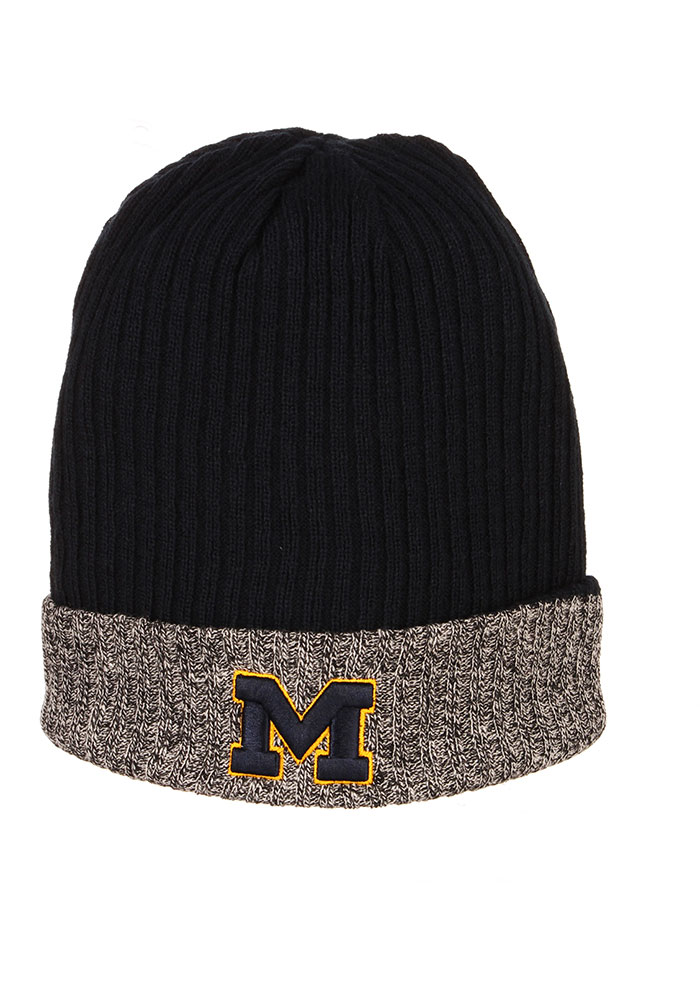Zephyr Michigan Wolverines Navy Blue Muse Reversible Cuff Mens Knit Hat - Image 2