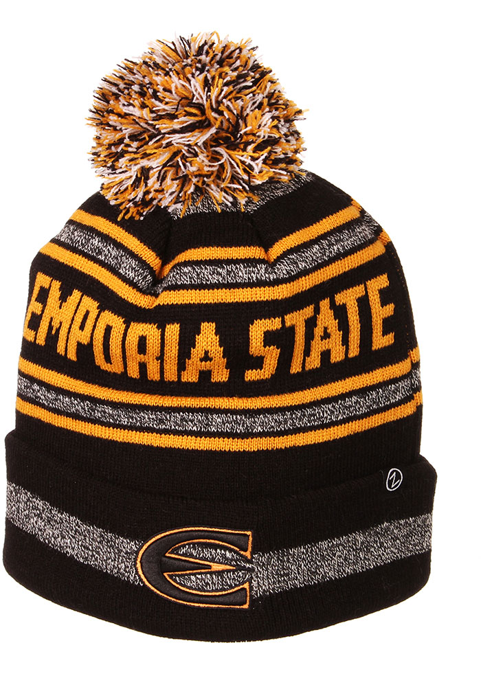 Zephyr Emporia State Hornets Black Jetty Cuff Pom Mens Knit Hat - Image 1