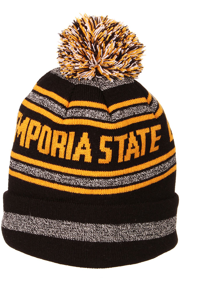 Zephyr Emporia State Hornets Black Jetty Cuff Pom Mens Knit Hat - Image 2