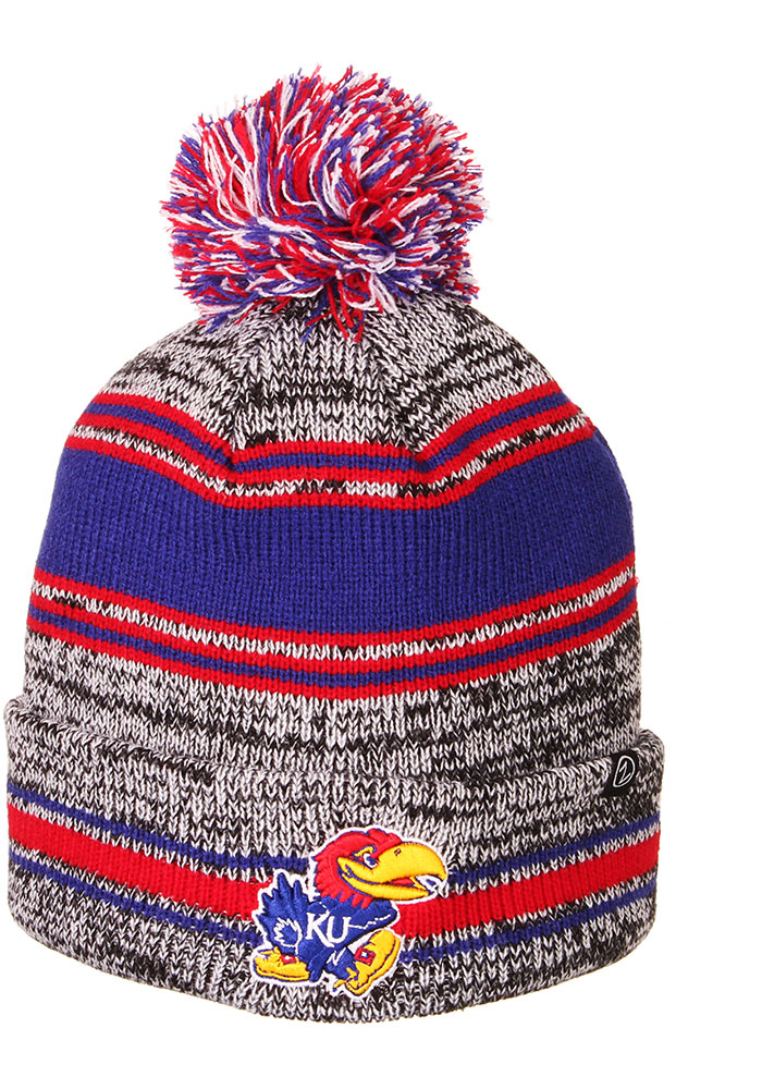 Kansas Jayhawks Zephyr Symmetry Cuff Pom Knit - Grey