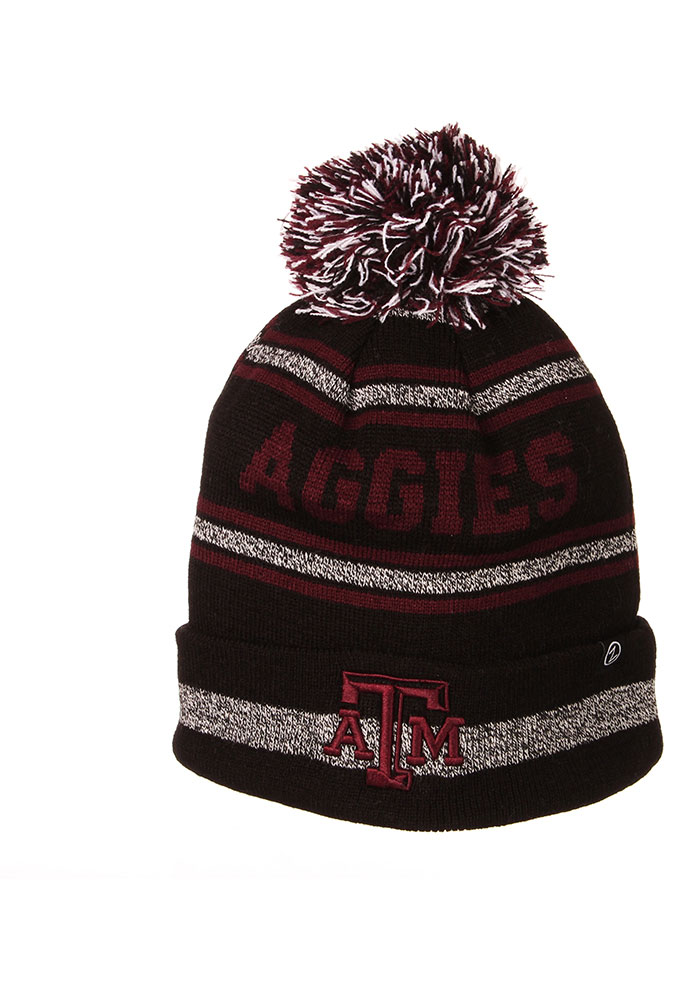 Texas A&M Aggies Zephyr Jetty Cuff Pom Knit - Black