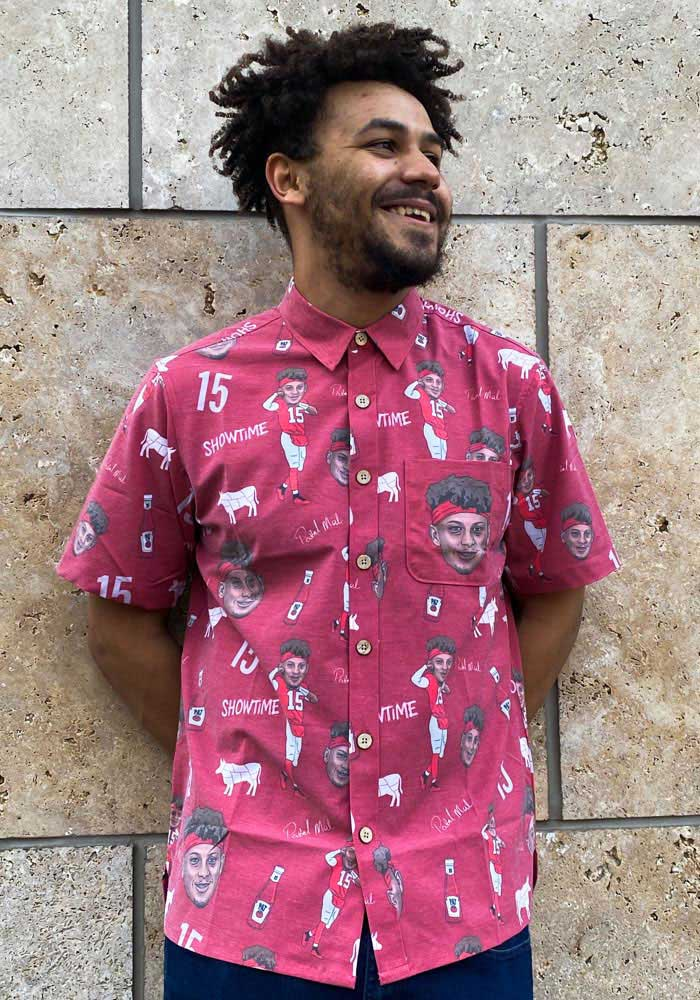Patrick Mahomes Kansas City Chiefs Mens Red Hawaiian Short Sleeve Dress Shirt - Image 3