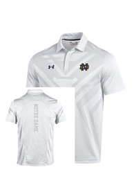 Under Armour Notre Dame Fighting Irish Mens White Scout Polo Short Sleeve Polo Shirt