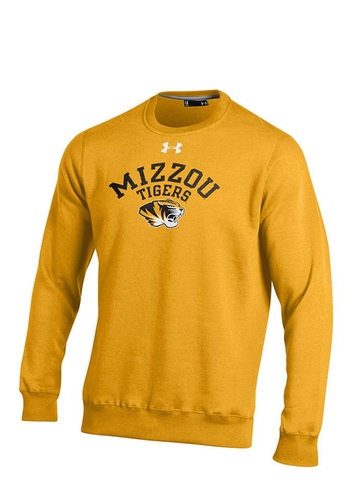 Under Armour Missouri Tigers Mens Gold Rival Fleece Crew Long Sleeve Crew Sweatshirt - Image 1