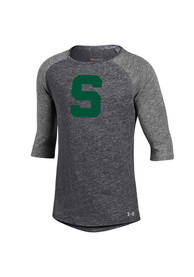Under Armour Michigan State Spartans Girls Grey Triblend Baseball Long Sleeve T-shirt