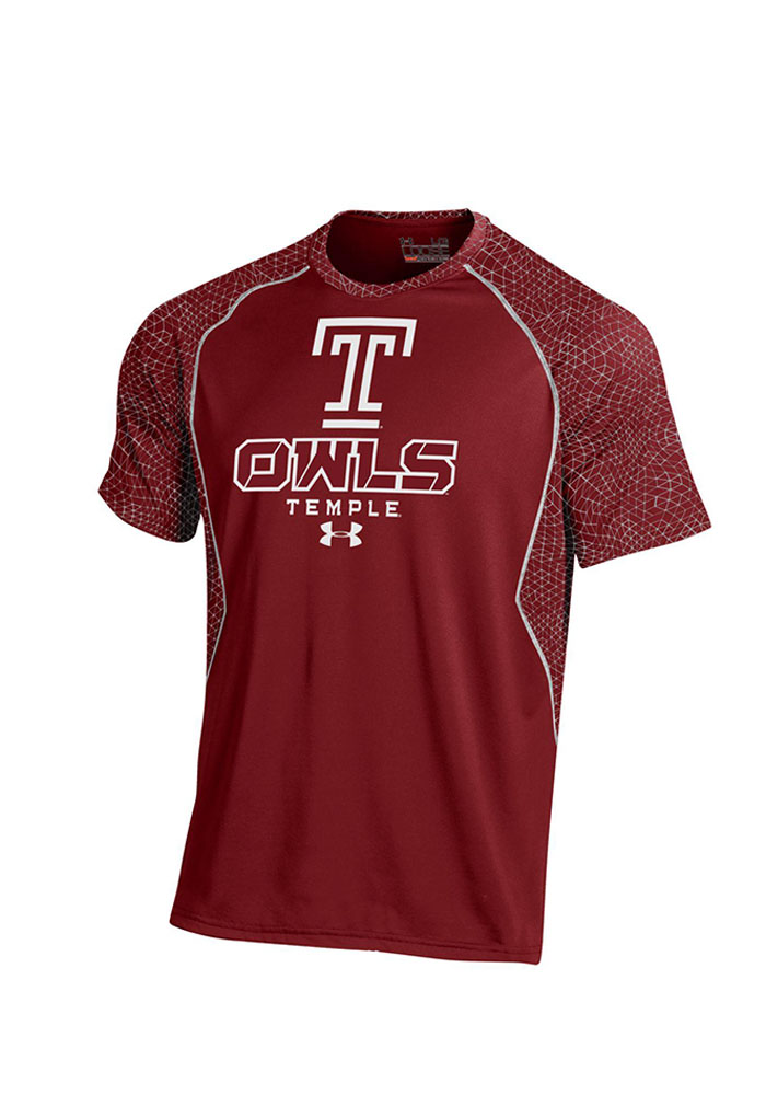 Under Armour Temple Owls Mens Cardinal Apex Print Short Sleeve T Shirt - Image 1