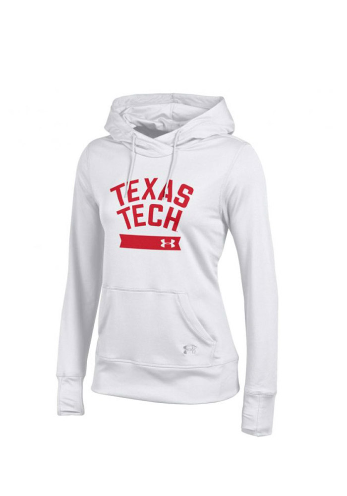 Under Armour Texas Tech Red Raiders Juniors White French Terry Hooded Sweatshirt - Image 1