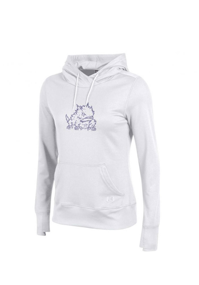 Under Armour TCU Horned Frogs Juniors White French Terry Hooded Sweatshirt - Image 1