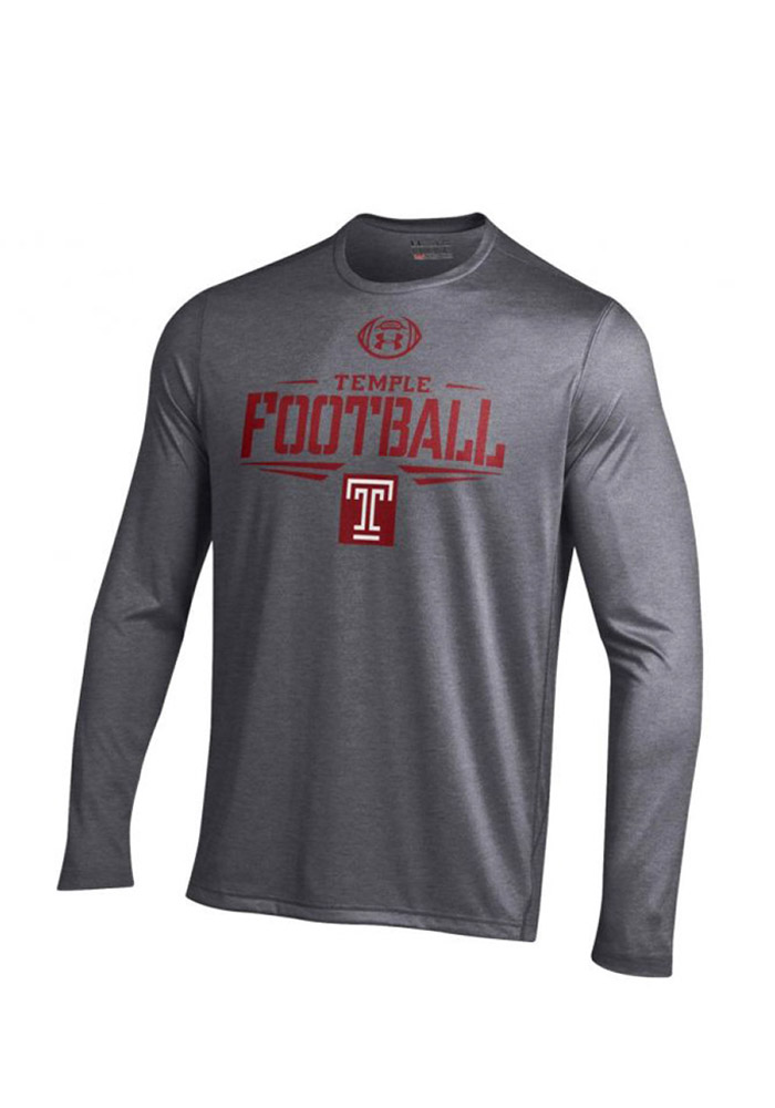 Under Armour Temple Mens Grey Football Performance Tee 55290807