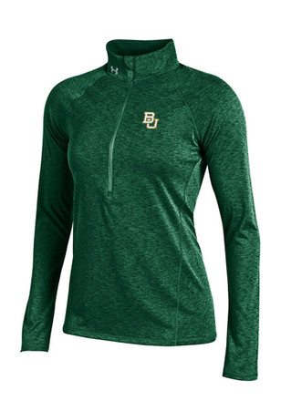 Under Armour Baylor Womens Grainy Tech Green 1/4 Zip Performance Pullover