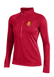 Under Armour Dogs Womens Grainy Tech Red 1/4 Zip Performance Pullover