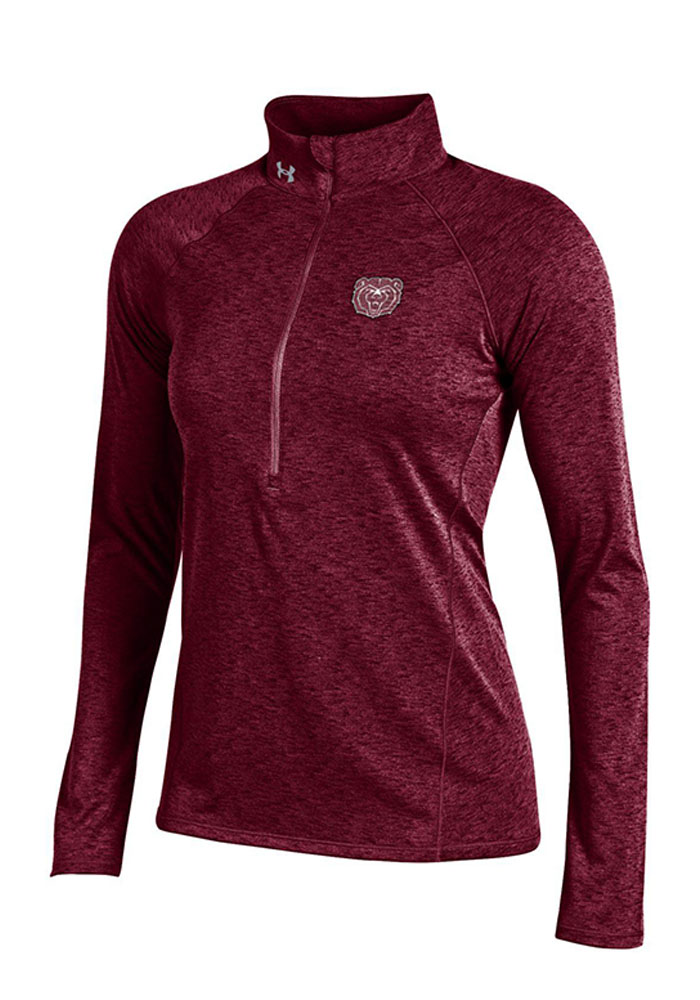 Under Armour MO State Womens Maroon Grainy Tech 1/4 Zip Pullover - Image 1