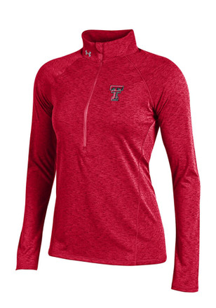 Under Armour Texas Tech Womens Grainy Tech Red 1/4 Zip Performance Pullover