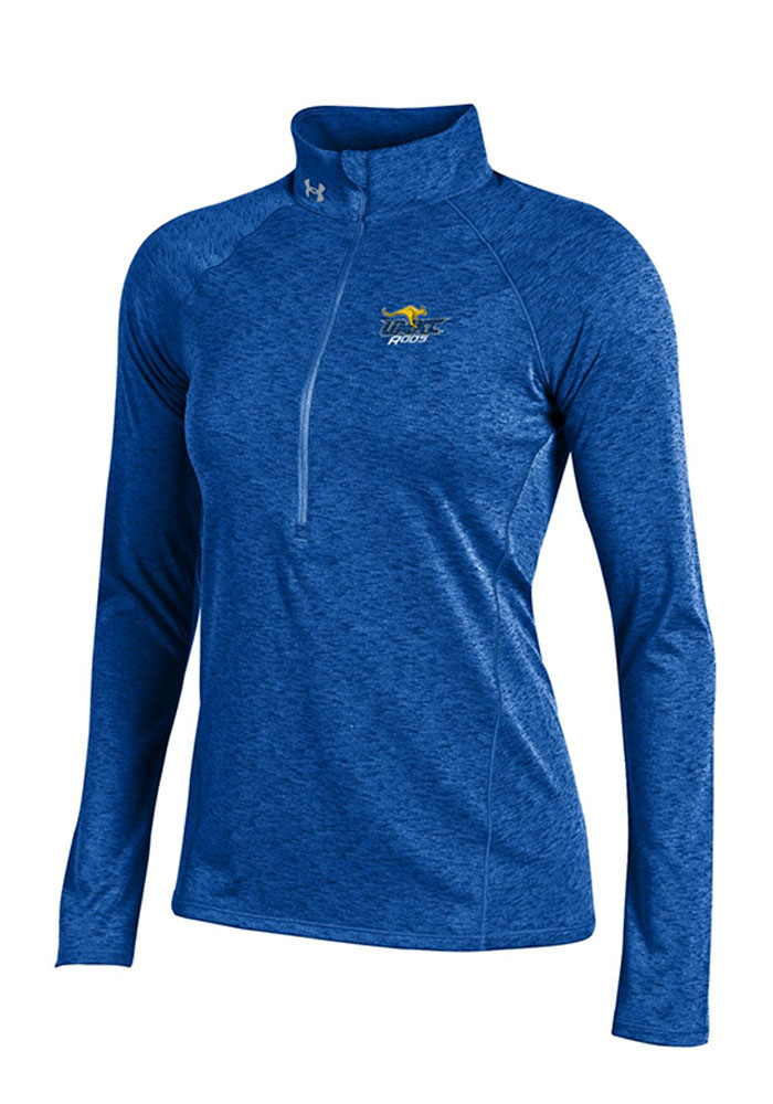 Under Armour UMKC Womens Blue Grainy Tech 1/4 Zip Pullover, Blue, 100% POLYESTER, Size L