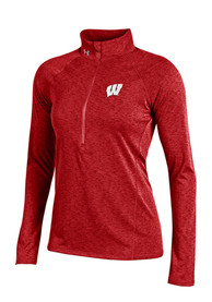 Under Armour Wisconsin Badgers Womens Grainy Tech Red 1/4 Zip Pullover