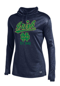 Under Armour Notre Dame Fighting Irish Womens Grainy LS Tech Navy Blue Crew Sweatshirt