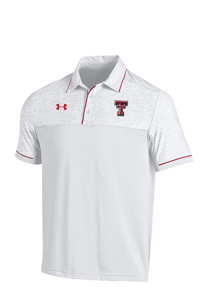 Under Armour Texas Tech Red Raiders Mens White Podium Short Sleeve Polo - Image 1