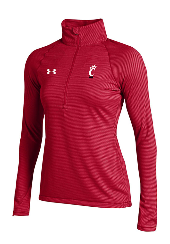 Under Armour Cincinnati Womens Stripe Knit Red 14 Zip Performance Pullover 55290906