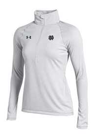 Under Armour Notre Dame Fighting Irish Womens Stripe Knit White 1/4 Zip Pullover