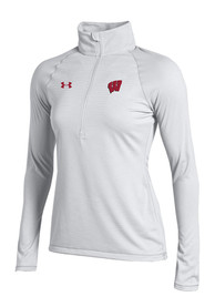 Wisconsin Badgers Womens Under Armour Stripe Knit 1/4 Zip - White