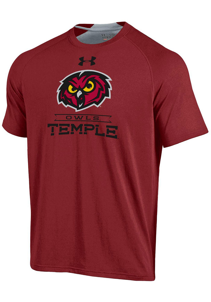 Under Armour Temple Owls Mens Maroon Charged SMU Short Sleeve T Shirt - Image 1