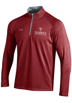 Under Armour Temple Owls Mens Maroon Charged SMU 1/4 Zip Pullover