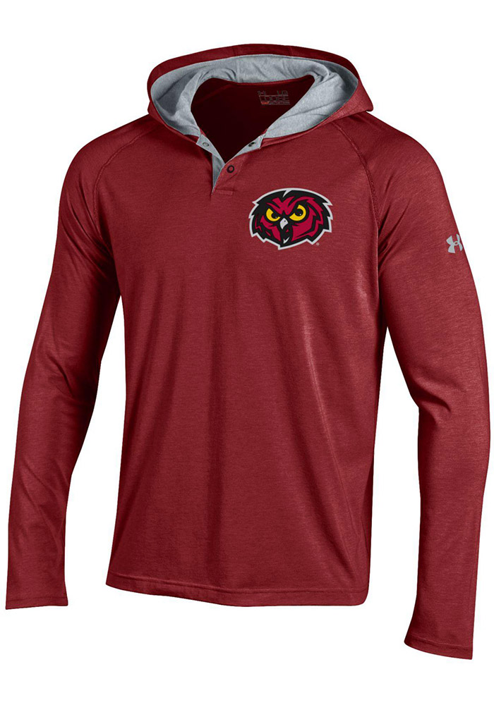 Under Armour Temple Owls Mens Maroon Charged Henley SMU Hood - Image 1
